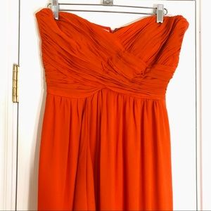 Nicole Miller | Orange Strapless Gown Empire Waist